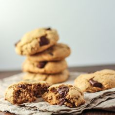 Paleo Chocolate chip cookies Ingredients  1/4 cup almond butter 1/4 coconut sugar 2 tbsp maple syrup 2 tsp vanilla 1 egg 1.5 cups almond flour 2 t...