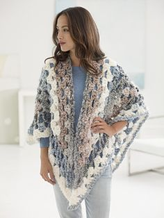 Lion Brand: Retreat Shawl - free crochet pattern by Shiri Mor.