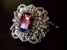 Victorian Amethyst Swarovski Bracelet - Silver Women Wrist Bracelet  - Vintage Style Victorian Gothic Jewelry