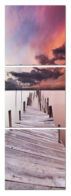 Portugal in Purple Premium Photography Triptych Print 3 Panel Wall Art Photo Print - Taken by Photographer Jorge Maia - Frameless 3 Panel Photography Print - Digitally Printed on Vinyl - Mounted to 1-