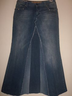 recycled jeans, omgz i love long jean skirts!