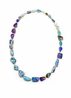 Irene Neuwirth 18k yellow gold, mixed Boulder Opals and diamond pave necklace, price upon request, at Barneys New York, 212-826-8900.