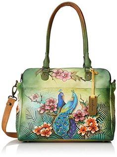 Anuschka Triple Compartment Notebook/Bbriefcase Shoulder Bag, Passionate Peacocks, One Size Was: $391.00 Now: $352.95