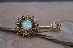 Purple Opal Sun 14kt Gold Belly Button Jewelry Ring