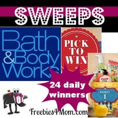 Want to win Bath & Body Works products? This is the sweeps you should enter daily thru March 28 http://freebies4mom.com/2013/03/18/bath-body/