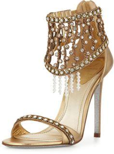 Rene Caovilla Gold Metallic Crystal Cage Sandal Gold