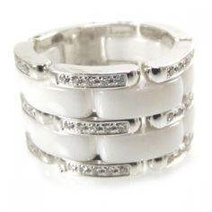 CHANEL 18k White Gold Diamond Ceramic Ultra Ring White