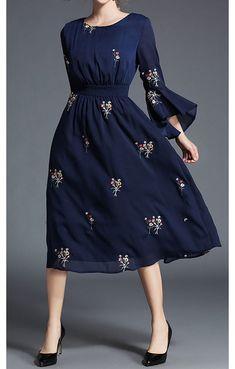 Navy Floral Print Bell Cuff Dress