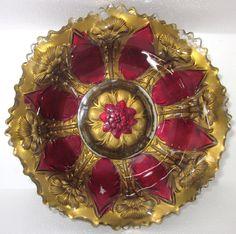 EAPG 1911 Lancaster Glass Co. Carnations Goofus Glass Bowl