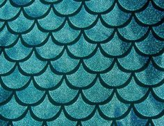 Turquoise on Black Large Fish Scale Mystique  Lycra Fabric on Etsy, $2.50
