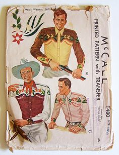 McCall 1949: 1949 Men's western shirt sewing pattern with transfer for embroidery.