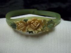 Childs Green Celluloid Bracelet. Originally pinned by Colleen Abbott (colleen466)