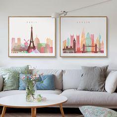 Kawaii Bonito New York cenário Cartaz Impressão Nórdico Moderno Retrato Da Arte Da Parede Dos Desenhos Animados Nursery Room Decor Pintura Da Lona Sem Moldura
