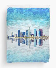 Los Angeles Skyline Printed Shower Curtain by JanetAnteparaDesigns