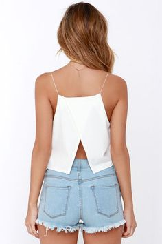 Ivory Top - Crop Top - White Top - $36.00