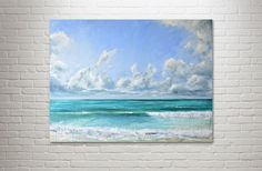 "Abstract Ocean Painting Sea Art Acrylic Original // ""Being Free"" 30 x 40"" Canvas"