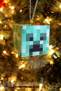 minecraft creeper face diy christmas ornament