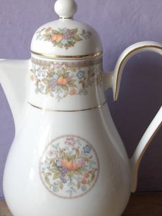 Vintage 1970s Noritake fine china coffee pot, harvesting fruit pattern, pears grapes, country kitchen, wedding gift for bride    It has a fruit and