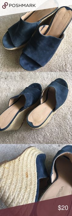 EUC Via Spiga wedge suede leather lake blue size 8 Few flaws but unnoticeable these are cool and stylish wedge, durable and comfortable♥️♥️♥️ leather upper leather sole Via Spiga Shoes Wedges