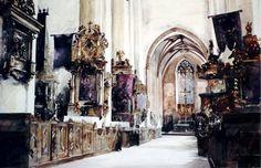 Paul Dmoch - La nef de la Basilique Saint-Jean-Baptiste et Saint-Jean-Evangéliste à Torun en Pologne 69 x 105 - aquarelle