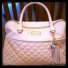Betsey Johnson light pink and gold shoulder bag Light pink with gold accents and quilted pattern. Little gouge as shown in second picture.  Great condition. I wear as shoulder bag.  Trade value 90 Betsey Johnson Bags