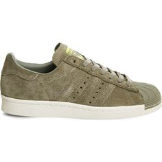 Adidas Superstar 80s leather trainers ($80) ❤ liked on Polyvore featuring shoes, sneakers, adidas trainers, 80s shoes, eighties shoes, 1980s shoes and genuine leather upper shoes
