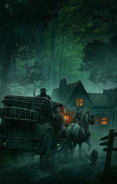 Beautiful Fantasy Illustrations by Kerem Beyit. This piece brings to mind a scene in Disney's Cinderella where a coachman comes to pick up Cinderella's stepmother and two step sisters