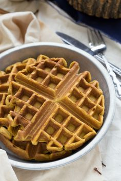 Pumpkin Waffles with the famous Kneaders copycat Caramel Syrup! Sub GF flour