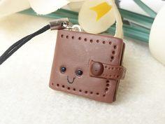 Miniature Wallet Charm, Brown, Kawaii, Polymer Clay £5.75