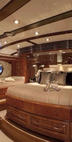 This bedroom is on a Luxury Private Yacht   Via ♔LadyLuxury♔