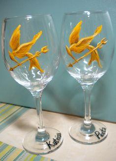 "Hunger Games ""His & Hers"" Wine Glasses (Katniss & Peeta)"
