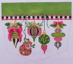 Kelly Clark Needlepoint Victoriana Stocking Cuff Hand Painted Needlepoint Canvas www.bloominstitches.com