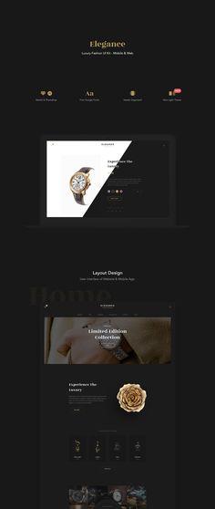 Elegance - Luxury Fashion Web and Mobile UI Kit Fashion Web Design, Web Ui Design, Layout Design, Graphic Design, Luxury Website, Ui Design Inspiration, Landing Page Design, User Interface Design, Ui Kit