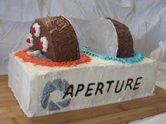Portal cake, going through a portal.  Mind=blown.