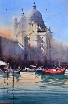 Santa Maria della Salute by Alvaro Castagnet #watercolor jd