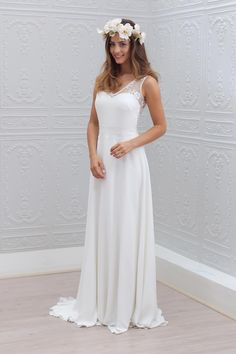 Wedding dress by Marie Laporte White Lace Wedding Dress, Open Back Wedding Dress, Wedding Dress Chiffon, Elegant Wedding Dress, Cheap Wedding Dress, Dress Lace, Lace Chiffon, Wedding White, White Chiffon