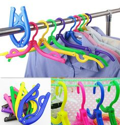 TIAU Traveling Portable Foldable Fold Plastic Clothes Hanger Hook Drying Rack #Unbranded