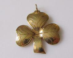 Huge Vintage 9ct Solid Gold Shamrock or Clover Pendant by TrueVintageCharms on Etsy