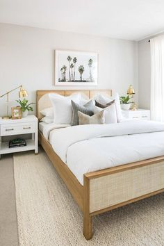 A lovely guest bedroom suite with neutral bedding and modern coastal artwork - bedroom ideas - small bedrooms - white bedroom - bedroom decor - beach house bedroom Apartment Bedroom Decor, Home Bedroom, Room Decor Bedroom, Modern Bedroom, Bedroom Ideas, Bedroom Signs, Small Bedrooms, Bed Room, Guest Bedrooms