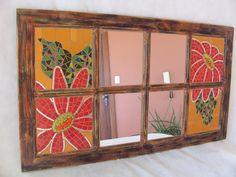 Espelho Janela. www.facebook.com/CacarecoArteMosaico