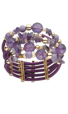 Memory Wire Bracelet with Amethyst Beads and Czech Glass Beads - Fire Mountain Gems and Beads