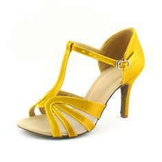 in white. Customized Satin T-Strap Strap Latin / Ballroom Dance Shoes With Buckle (More Colors) – USD $ 29.99