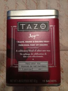 Tazo Joy Full Leaf Tea is a festive, full-leaf tea blending rare Darjeelings and Oolongs with fragrant Nuwara Eliya teas from Ceylon. Green teas from China and Assam black teas from India add further texture and complexity to a fine tea that's a joy to share with friends - or to enjoy yourself.