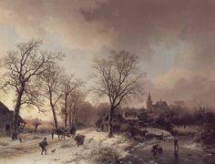 Barend Cornelis Koekkoek - Mensen in winterlandschap