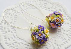 Lilac Violet Pastel Flowers earrings_flowers by RainOfJoy on Etsy