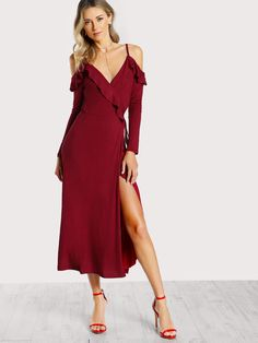 Shop Cold Shoulder Frilled Surplice Wrap Dress online. SheIn offers Cold Shoulder Frilled Surplice Wrap Dress & more to fit your fashionable needs.