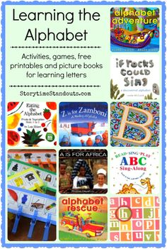 Alphabet recognition activities, games, free printables, and picture books from Storytime Standouts #alphabet #learningletters #Prek #kindergarten