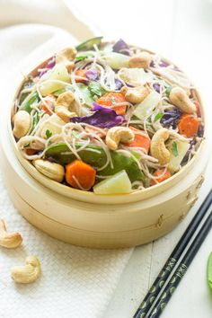 Honey Ginger Cashew Cream Stir Fry - Noodles, crunchy cashews and sweet honey ginger pineapples, this healthy meal has it all! And it's quick and easy!   Foodfaithfitness.com   #stirfry #vegetarian #recipe