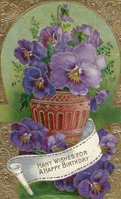 Vintage floral purple flowers violets birthday card by BigGDesigns
