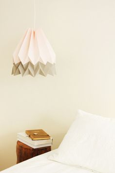 Handmade Origami Lighting Pastel Pink with Light Taupe by blaanc
